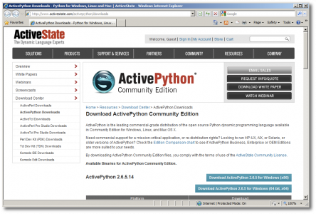 Site para Download do Active Python da ActiveState